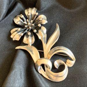 "Large Mid Century Modern Sterling Flower Brooch 3"""